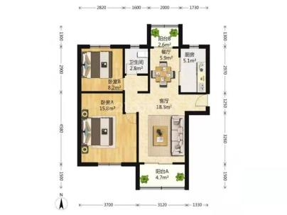 新天地河滨花园 2室 1厅 89.8平米