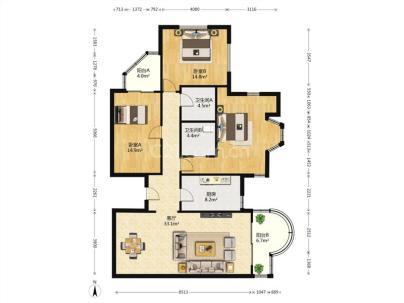 维多利亚 3室 2厅 178.22平米