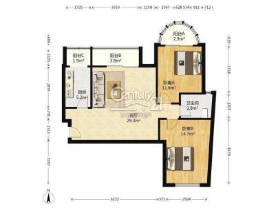 三环新城 2室 1厅 98.57平米