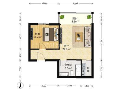 新怡家园 1室 1厅 61.72平米