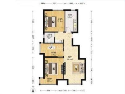 经开壹中心 3室 1厅 87平米