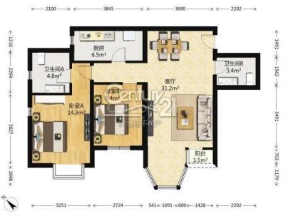 珠江逸景家园 2室 1厅 98平米