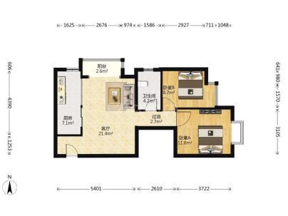 彩虹城三区 2室 1厅 85.79平米