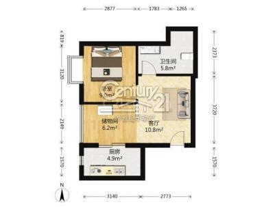 珠江逸景家园 1室 2厅 56平米