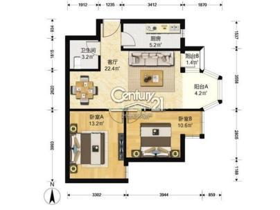 合生世界村 2室 1厅 96平米