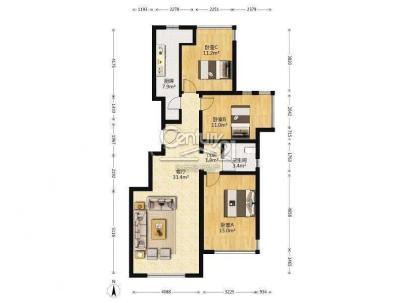 龙湖时代天街 3室 1厅 98.53平米