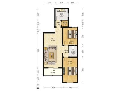 美景东方 2室 2厅 103平米
