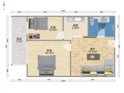 增光佳苑 2室 1厅 80.29平米
