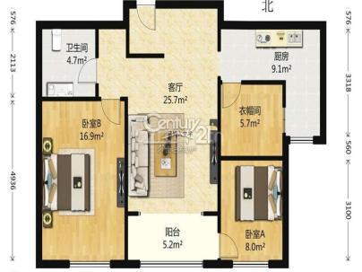 融科钧廷 3室 2厅 99.4平米