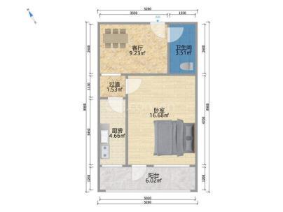 甘家口小区 1室 1厅 51.2平米