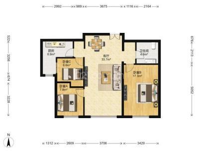 融科钧廷 3室 1厅 98.9平米