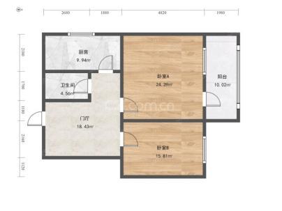 矿机路小区 2室 1厅 50.07平米