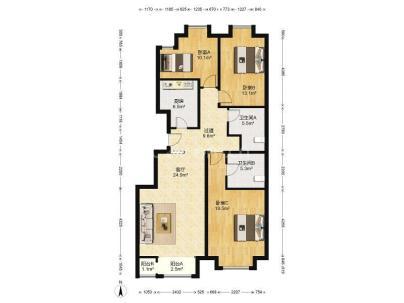 万年花城 3室 2厅 128.38平米