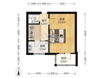 南顶村 2室 1厅 36.3平米