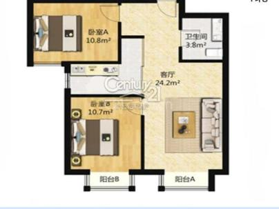 东亚瑞晶苑 2室 1厅 78.64平米