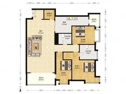 亮马名居 3室 2厅 192平米
