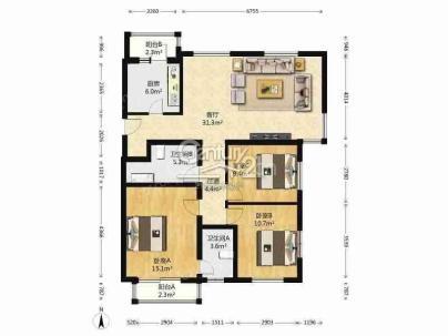 新龙城 3室 2厅 122.04平米