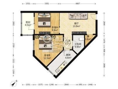 椿树园 2室 2厅 66.75平米