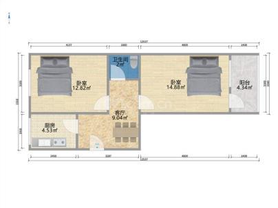 景王坟小区 2室 1厅 54.4平米