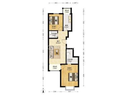 瑞雪春堂二里 2室 1厅 88.78平米