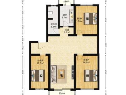 绿丰家园 3室 2厅 121.18平米