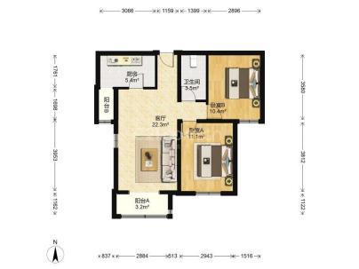 北辰福第 2室 1厅 83.44平米