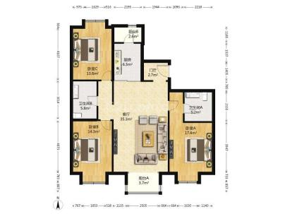 万年花城 3室 2厅 143.08平米