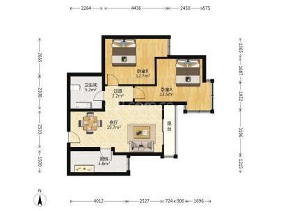 万年花城 2室 2厅 80.44平米