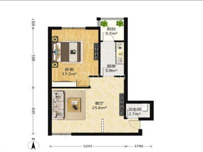 美景东方 1室 1厅 76平米
