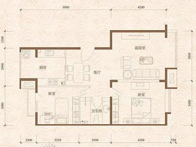 万年花城 2室 2厅 90.11平米