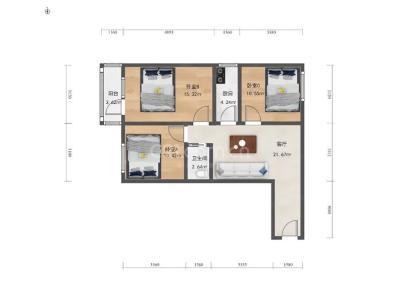 白云观街北里 3室 1厅 84.6平米