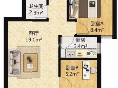 南庭新苑 2室 1厅 58平米