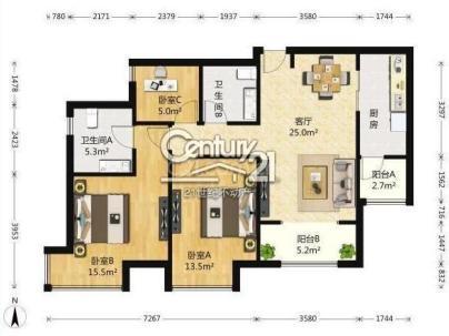 富力尚悦居 3室 2厅 108平米