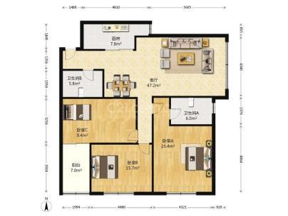 盛世嘉园 3室 2厅 158平米