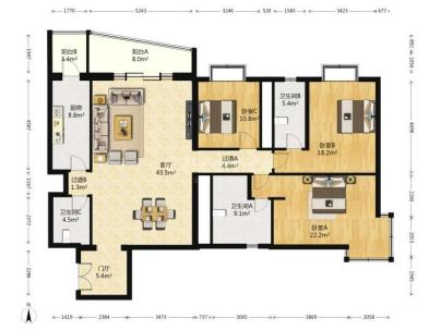 御景园 3室 2厅 202平米