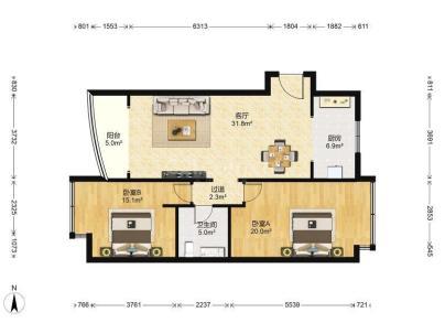珠江骏景中区 2室 1厅 112.04平米