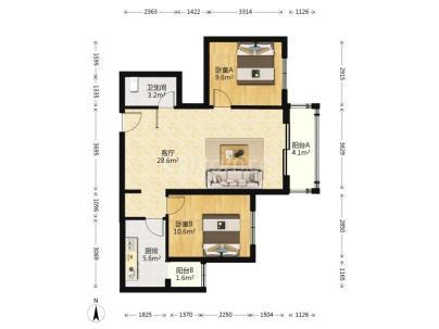 翠城馨园(翠成馨园) 2室 1厅 95.47平米