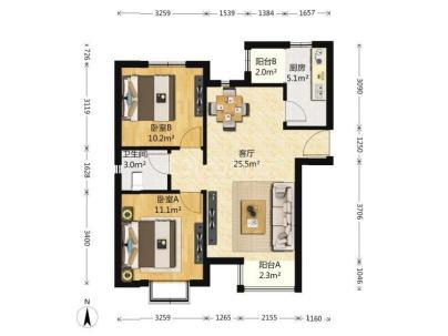 泰河园一里一区 2室 1厅 93平米