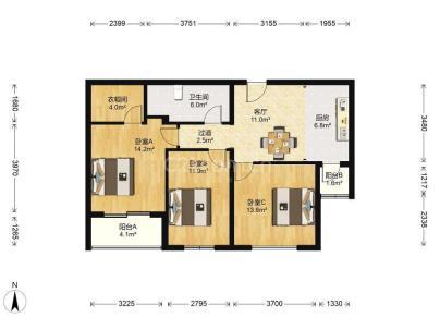 翠城馨园(翠成馨园) 2室 1厅 107平米