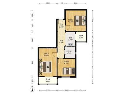 育新花园 3室 1厅 74.8平米