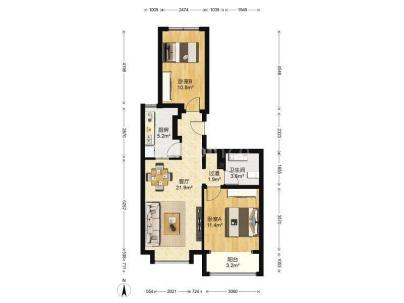 海梓府 2室 1厅 81.45平米