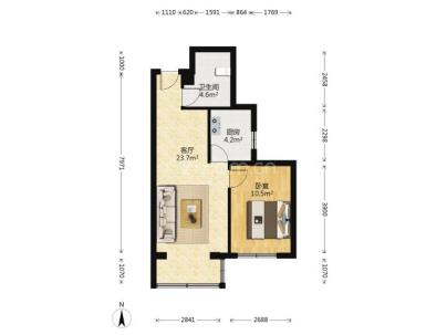 新景家园西区 1室 1厅 59.3平米