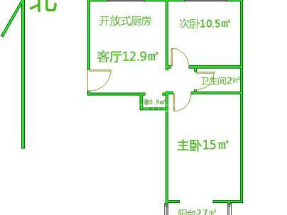 车公庄西路38号院 2室 1厅 56.5平米