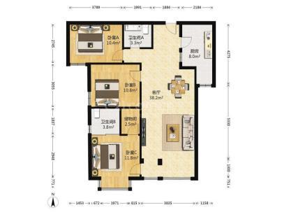 三环新城 3室 2厅 119.82平米
