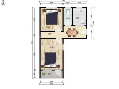 月坛北街25号院(物资部大院) 2室 1厅 61.1平米