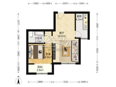首开国风美仑(回迁房) 1室 1厅 58平米