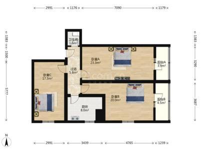 南礼士路甲1号院 3室 1厅 103.7平米