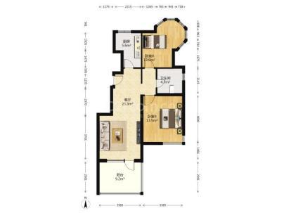 北京城建琨廷 2室 1厅 85.84平米