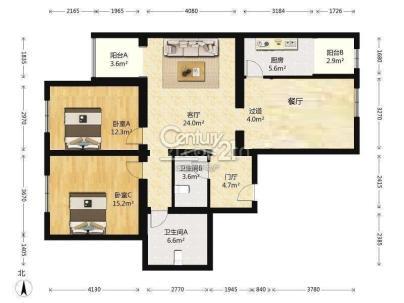 幸福二村 3室 2厅 127.76平米