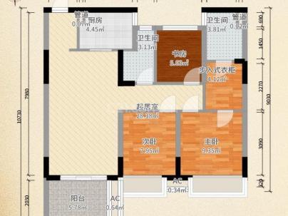 四季花都 3室 1厅 108平米